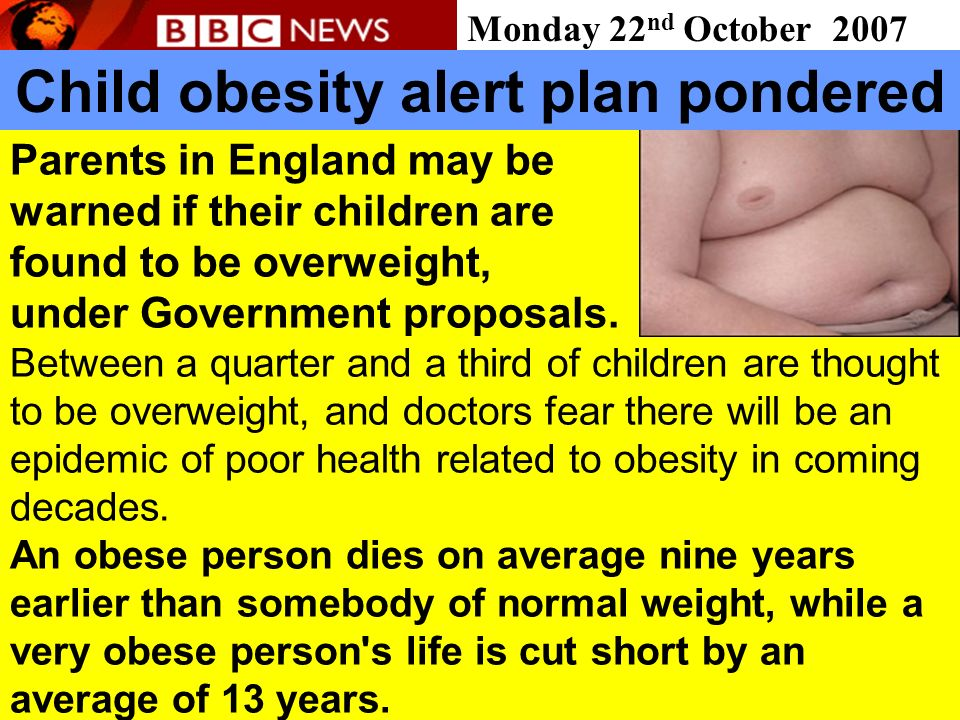 Child obesity alert plan pondered