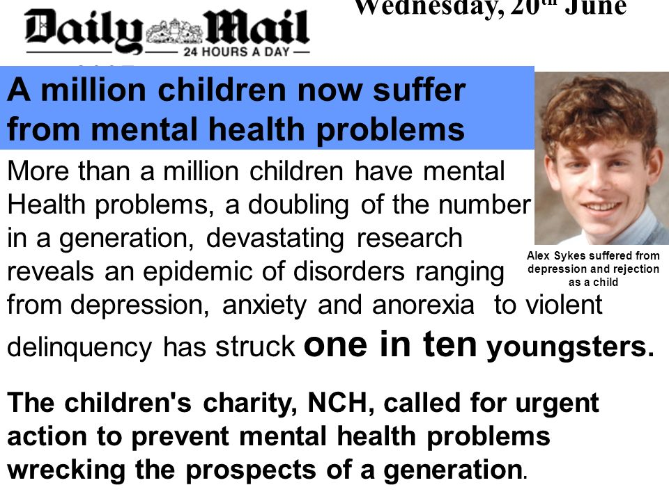A million children now suffer from mental health problems