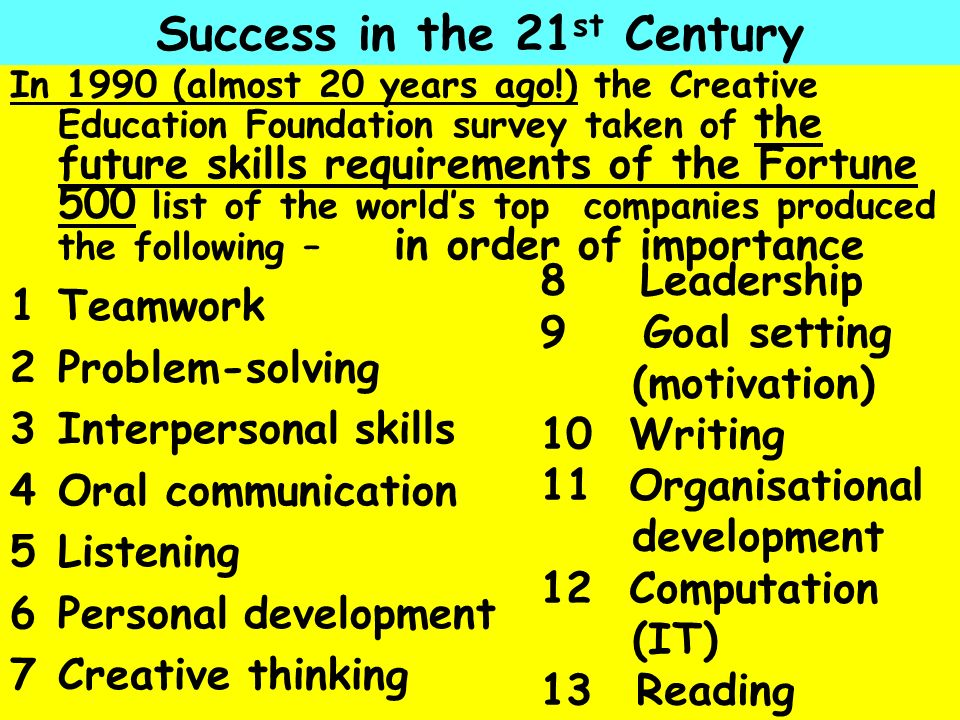 Success in the 21st Century