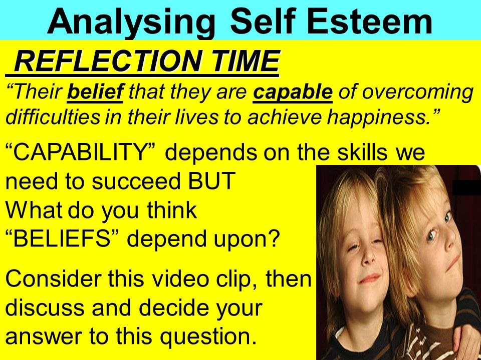 Analysing Self Esteem REFLECTION TIME