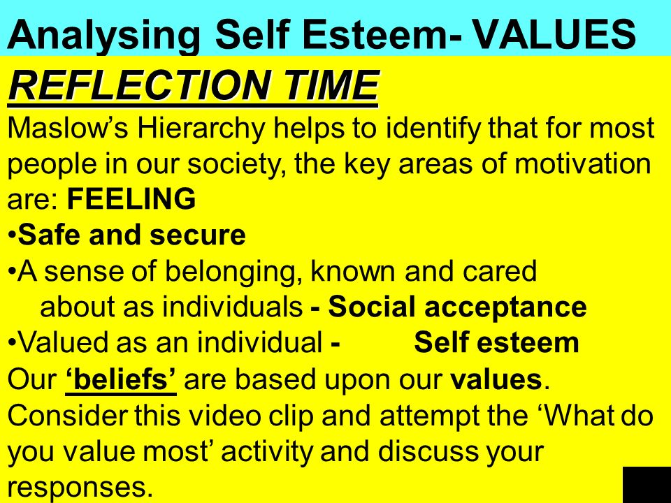 Analysing Self Esteem- VALUES