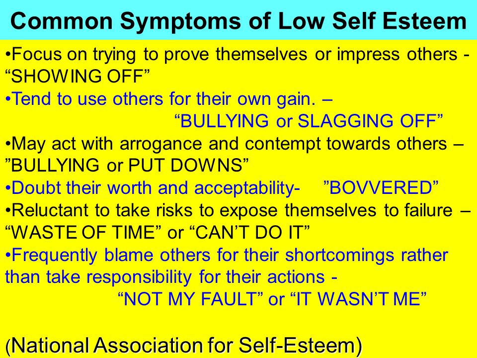 Common Symptoms of Low Self Esteem