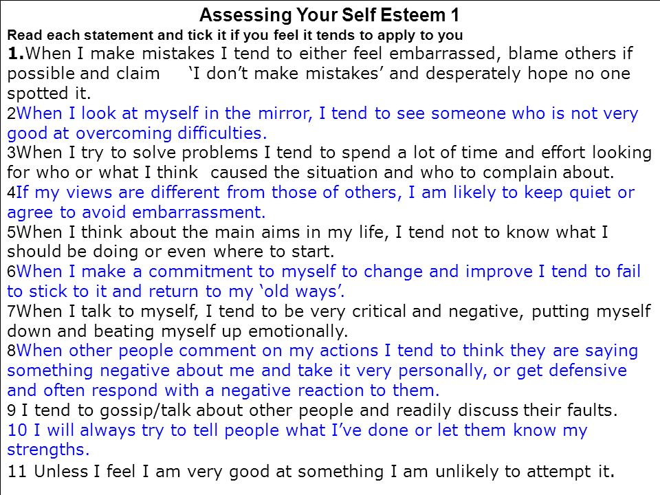 Assessing Your Self Esteem 1