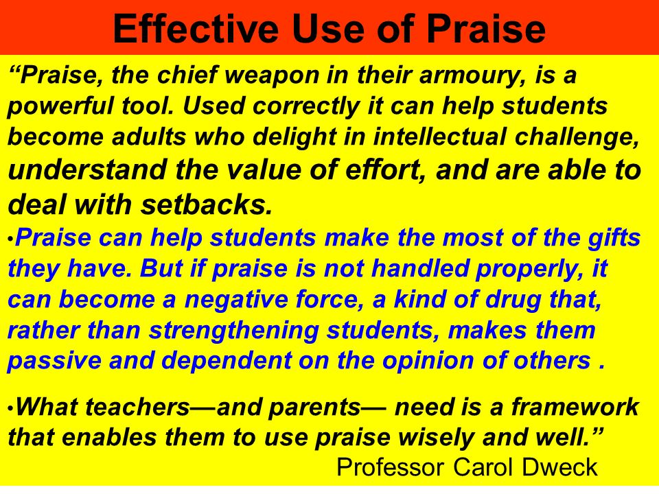 Effective Use of Praise