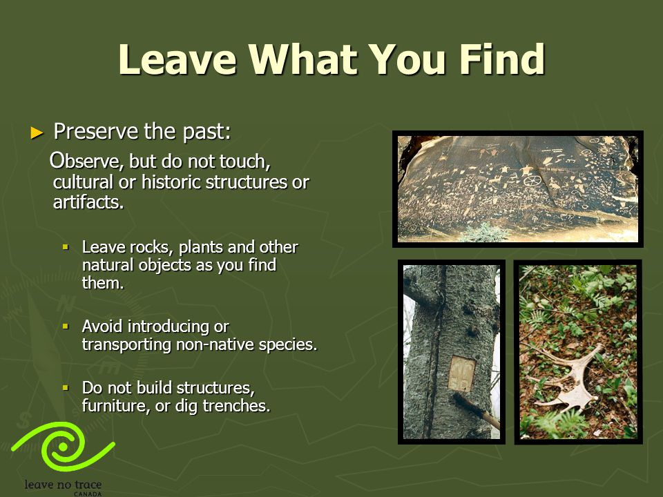 Leave What You Find Preserve the past: