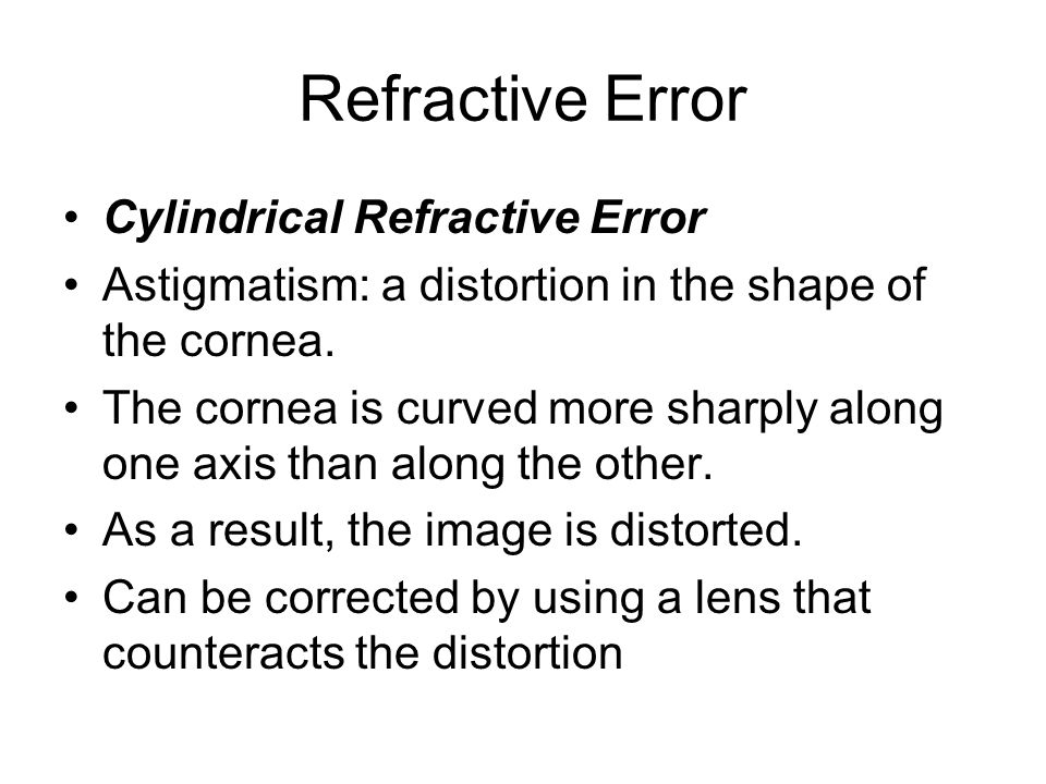 Refractive Error Cylindrical Refractive Error