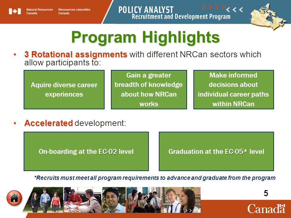 Program Highlights 3 Rotational assignments with different NRCan sectors which allow participants to: