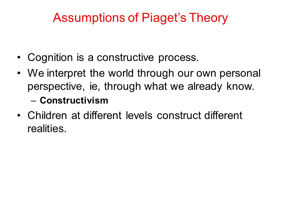 Assumptions of Piaget's Theory