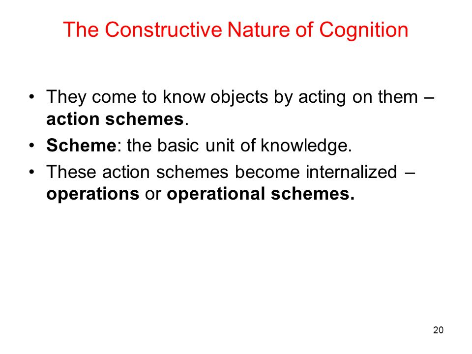 The Constructive Nature of Cognition
