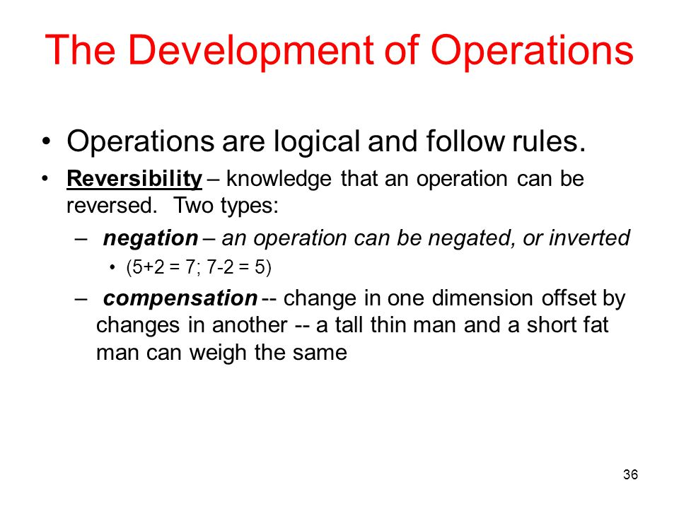 The Development of Operations