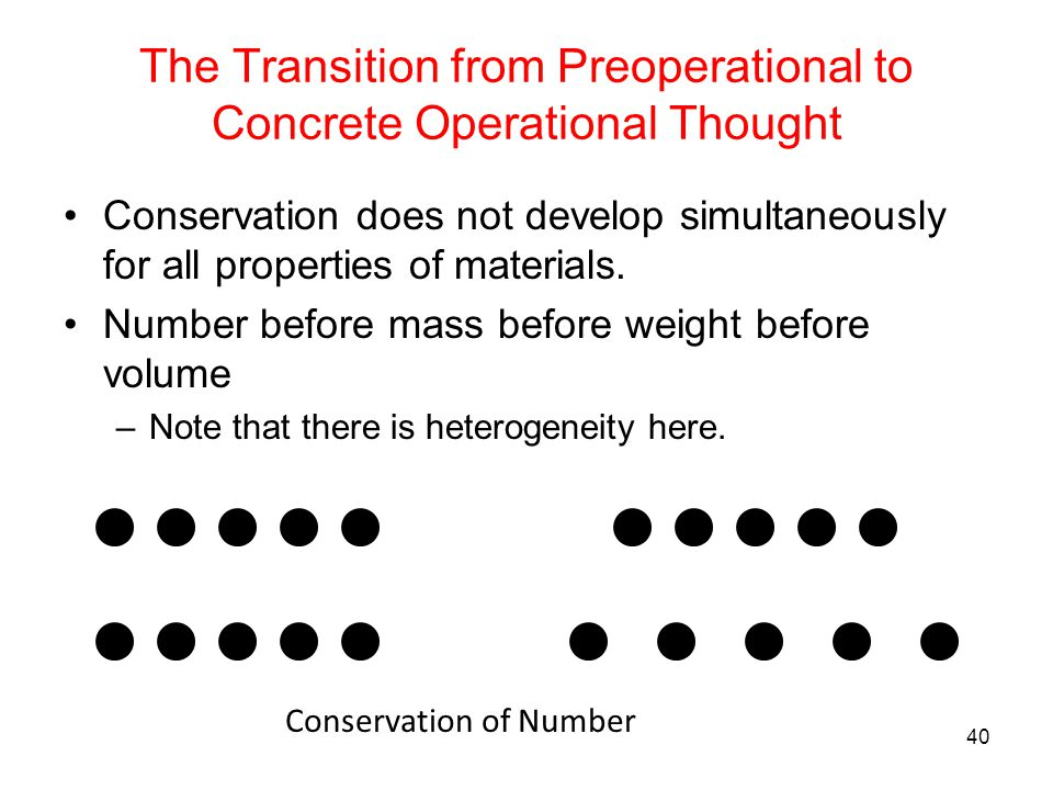 The Transition from Preoperational to Concrete Operational Thought