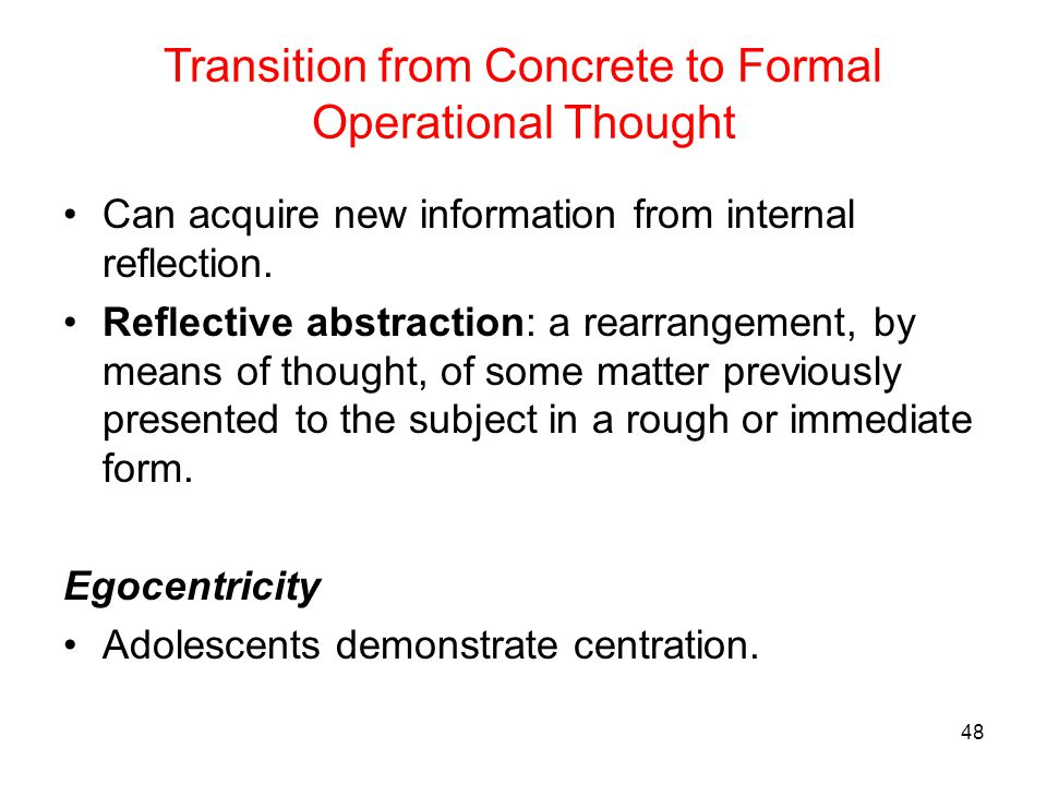 Transition from Concrete to Formal Operational Thought