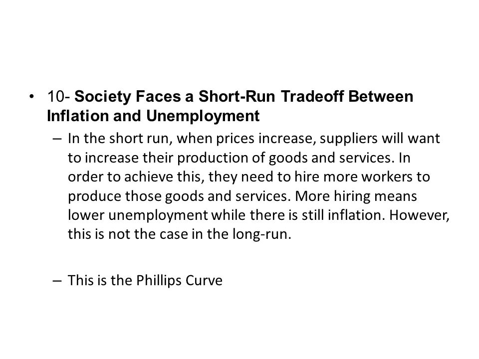 10- Society Faces a Short-Run Tradeoff Between Inflation and Unemployment