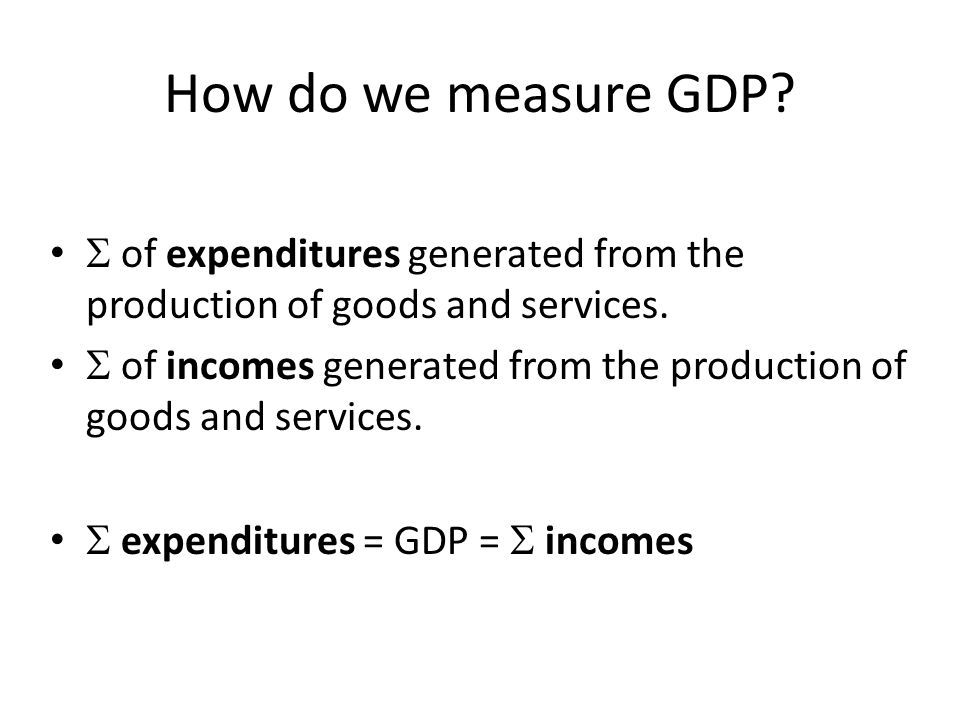 How do we measure GDP  of expenditures generated from the production of goods and services.