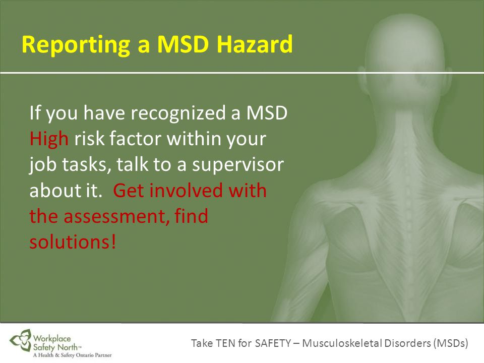 Reporting a MSD Hazard