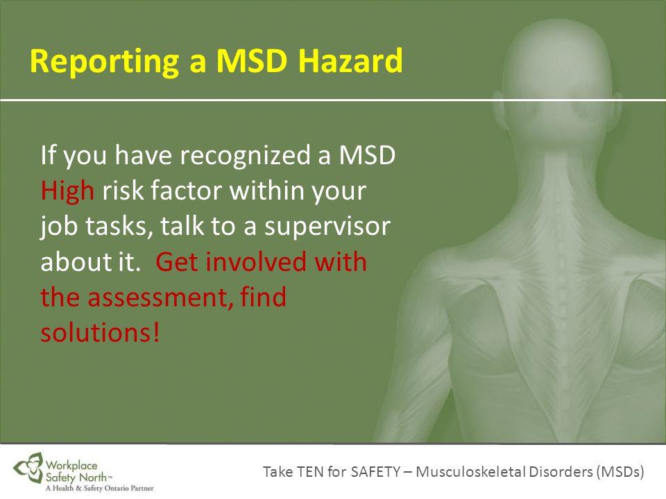 Reporting a MSD Hazard