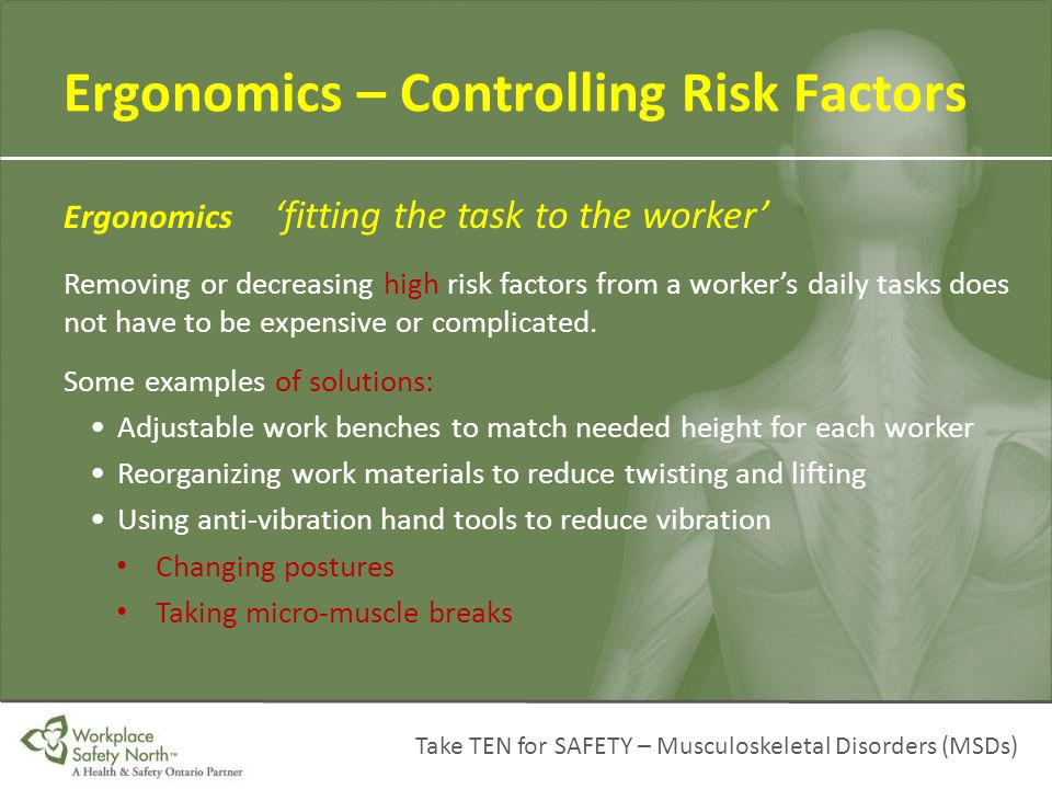 Ergonomics – Controlling Risk Factors