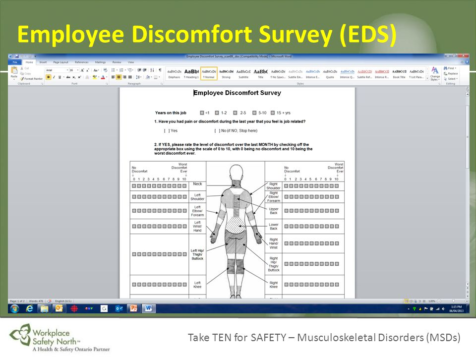 Employee Discomfort Survey (EDS)