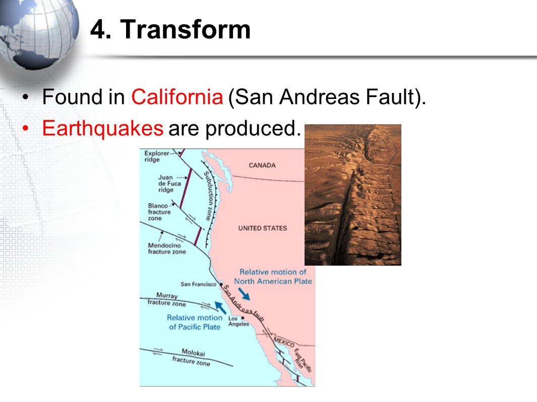 4. Transform Found in California (San Andreas Fault).