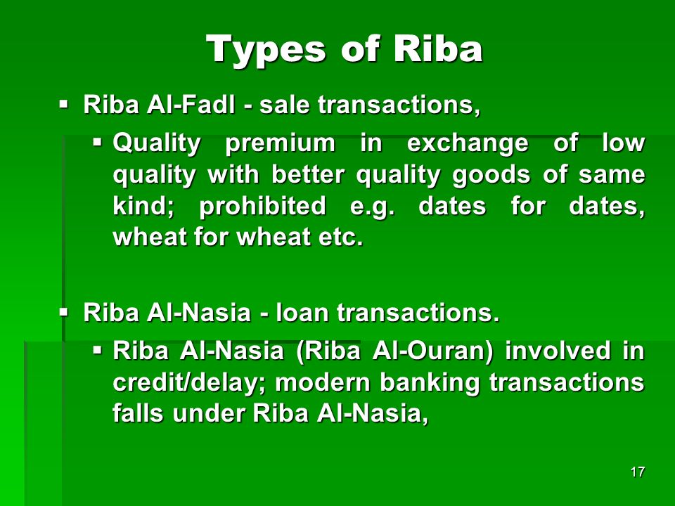 Types of Riba Riba Al-Fadl - sale transactions,