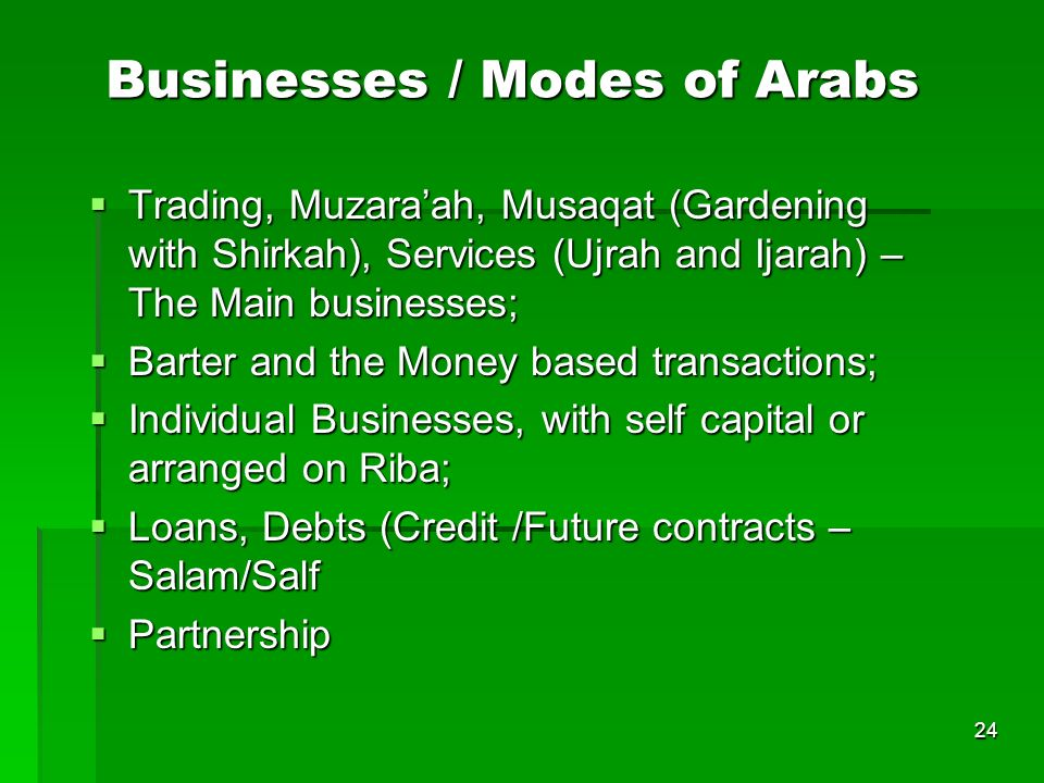 Businesses / Modes of Arabs