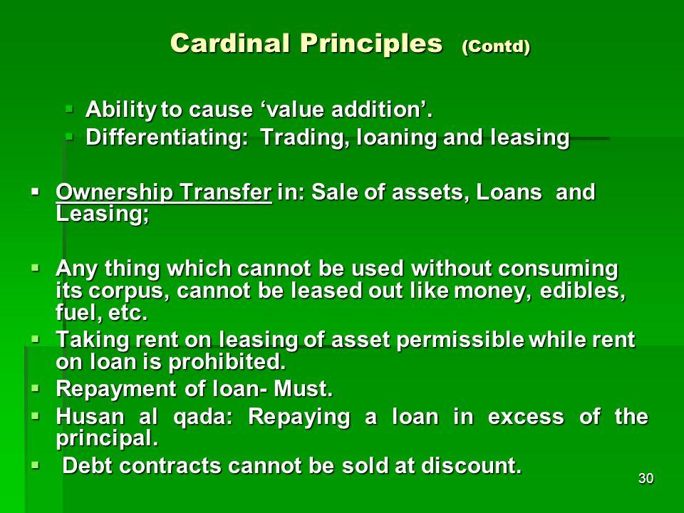 Cardinal Principles (Contd)