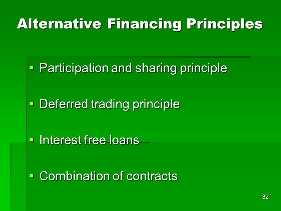 Alternative Financing Principles