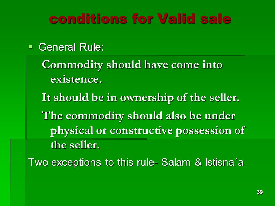 conditions for Valid sale