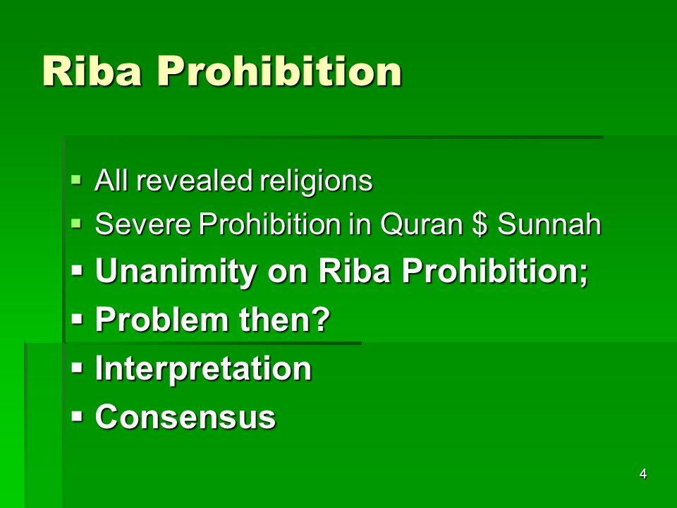 Riba Prohibition Unanimity on Riba Prohibition; Problem then
