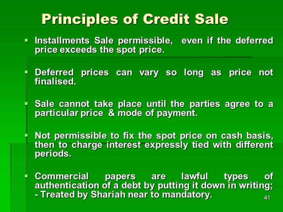Principles of Credit Sale