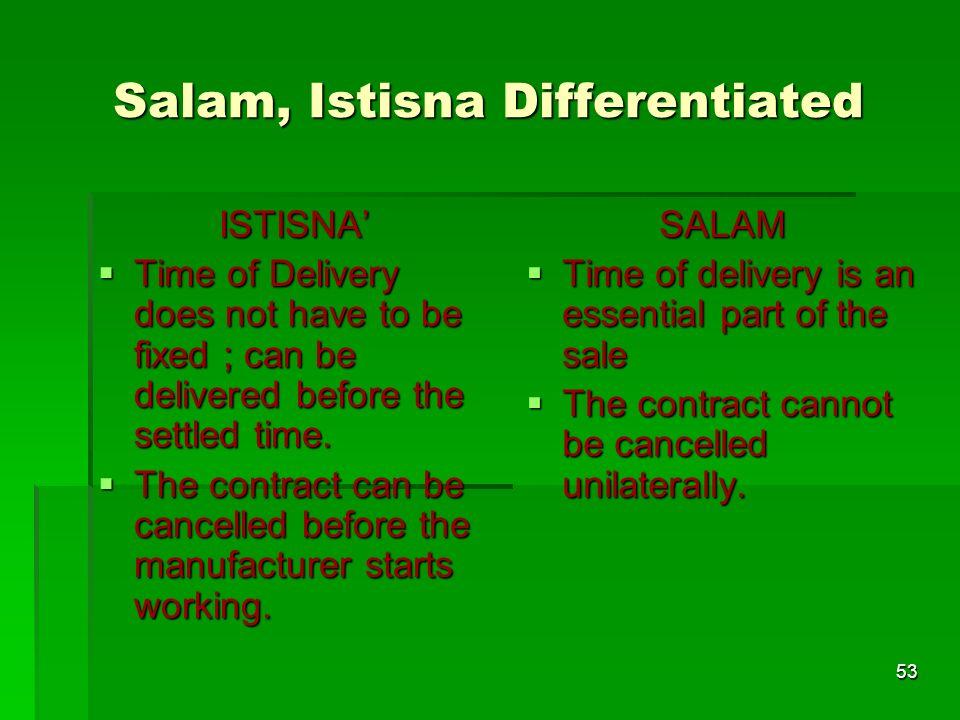 Salam, Istisna Differentiated