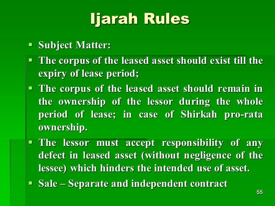 Ijarah Rules Subject Matter: