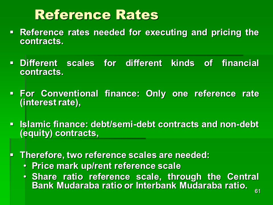 Reference Rates Reference rates needed for executing and pricing the contracts. Different scales for different kinds of financial contracts.