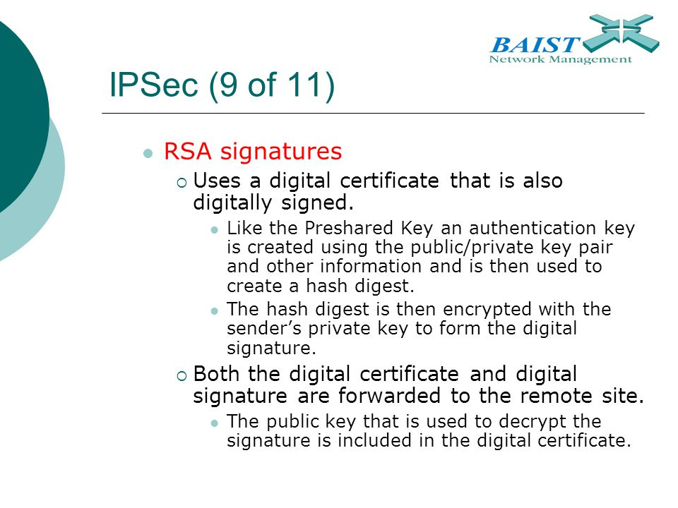 IPSec (9 of 11) RSA signatures