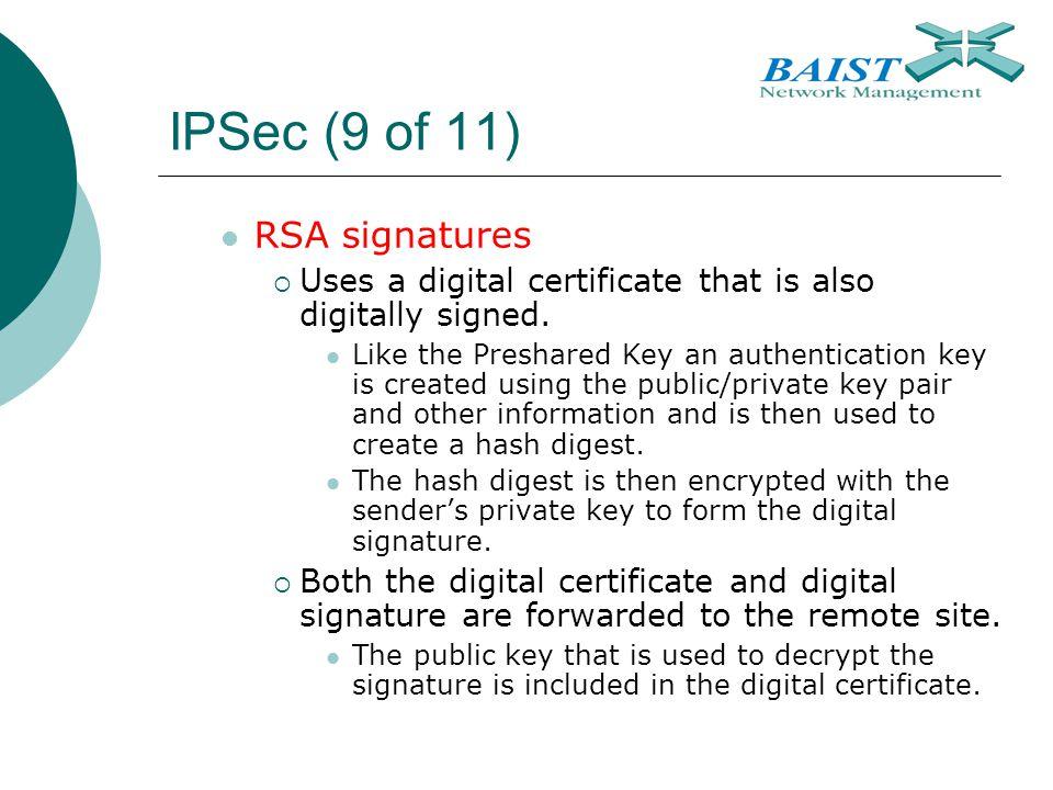 IPSec (9 of 11) RSA signatures