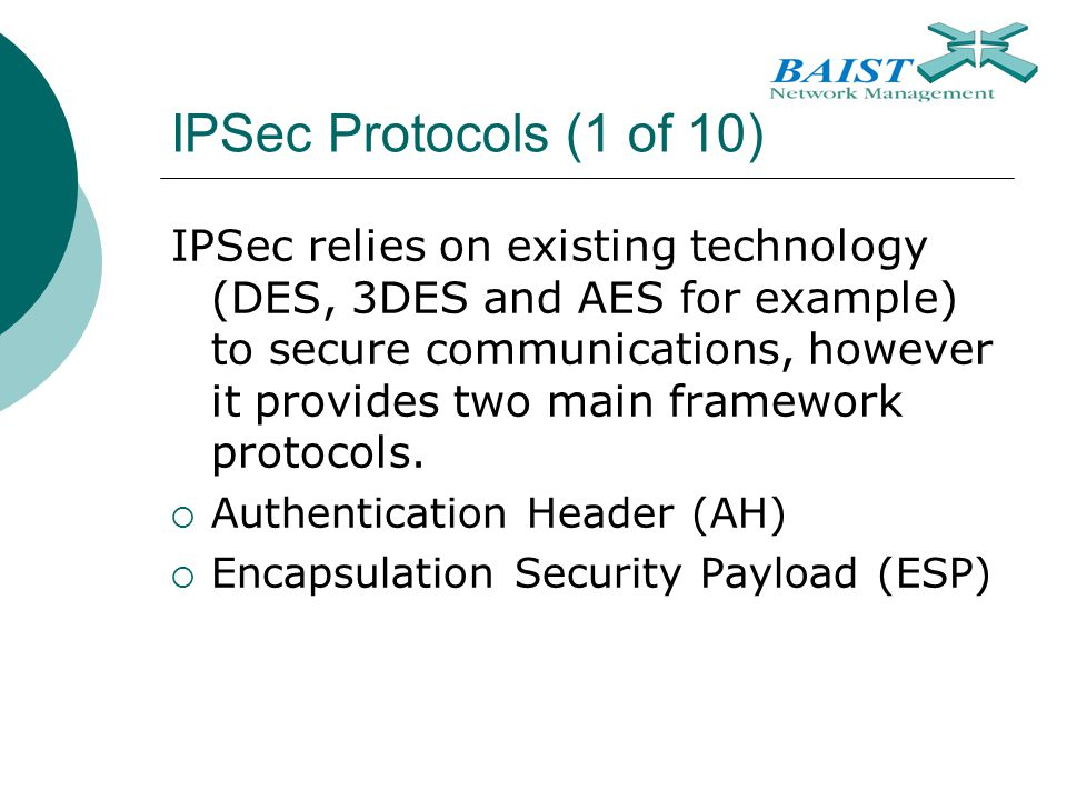 IPSec Protocols (1 of 10)