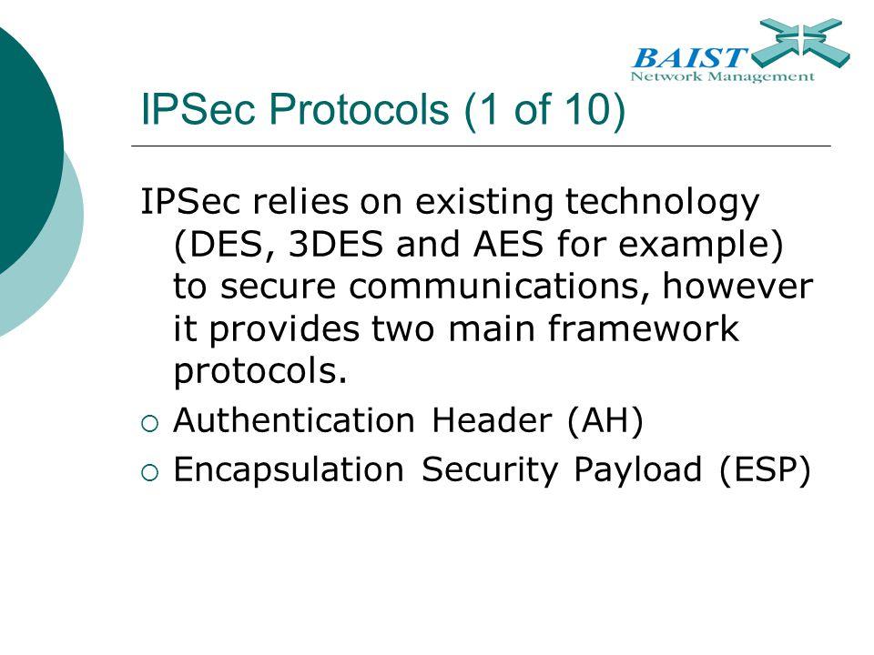 IPSec Protocols (1 of 10)