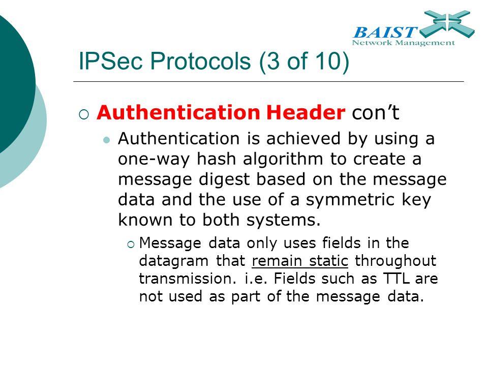 IPSec Protocols (3 of 10) Authentication Header con't