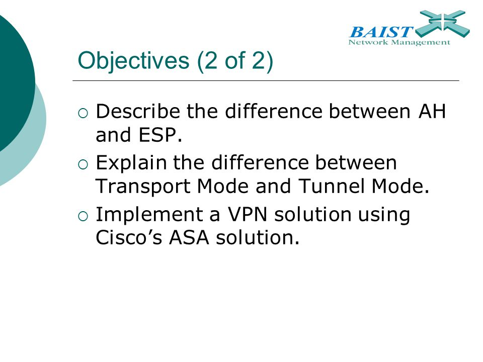 Objectives (2 of 2) Describe the difference between AH and ESP.