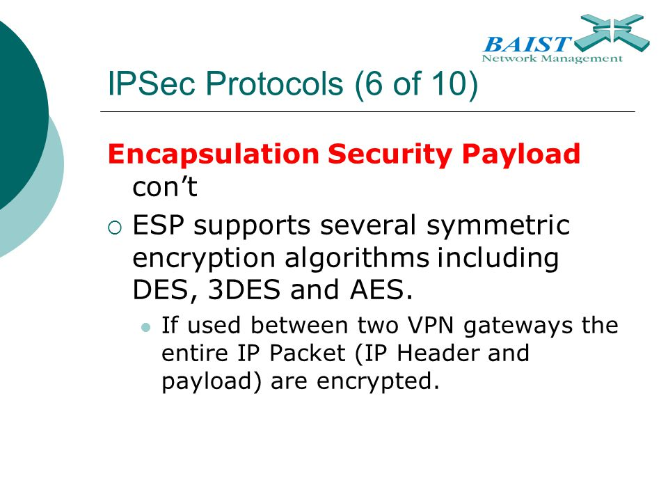 IPSec Protocols (6 of 10) Encapsulation Security Payload con't
