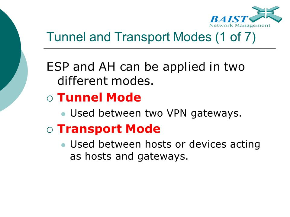Tunnel and Transport Modes (1 of 7)