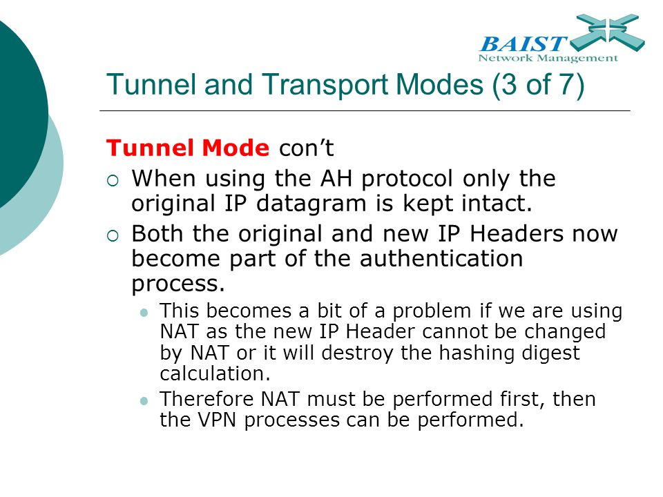 Tunnel and Transport Modes (3 of 7)