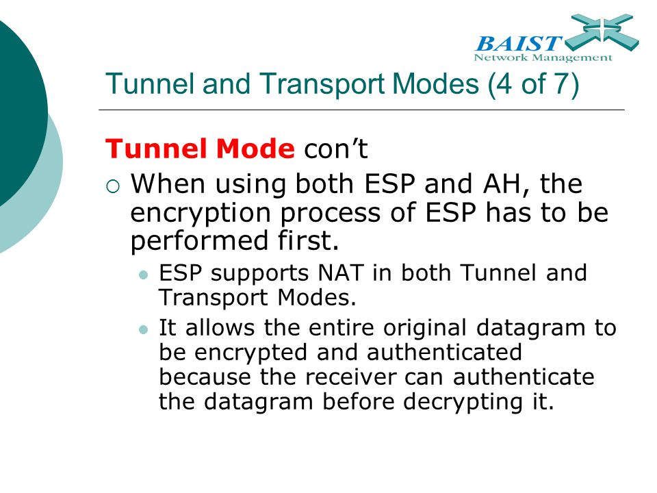 Tunnel and Transport Modes (4 of 7)