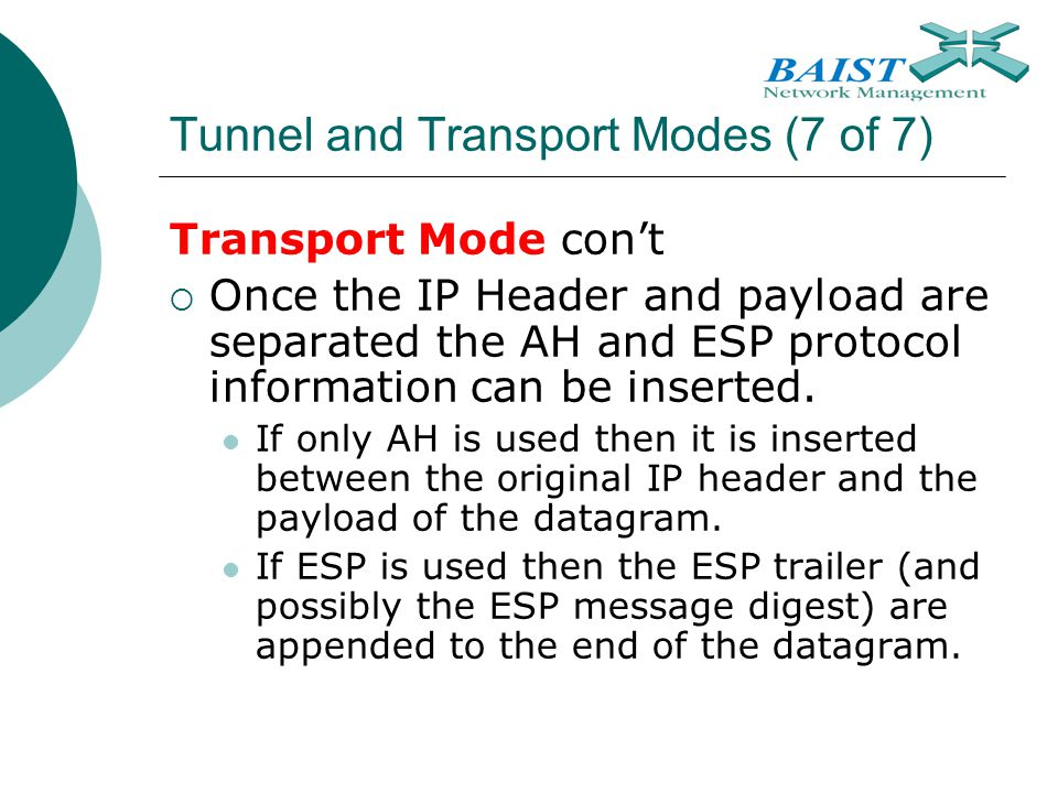 Tunnel and Transport Modes (7 of 7)