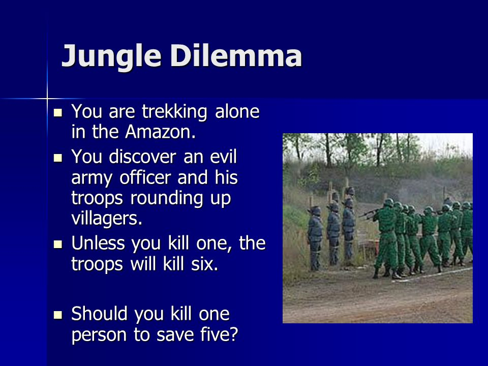 Jungle Dilemma You are trekking alone in the Amazon.