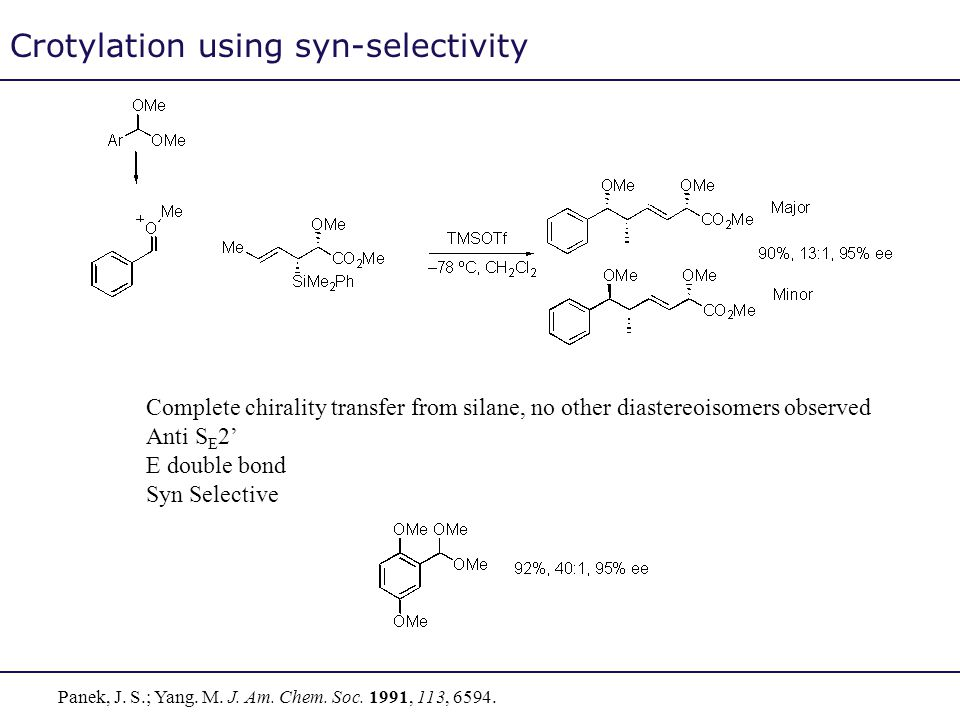 Crotylation using syn-selectivity