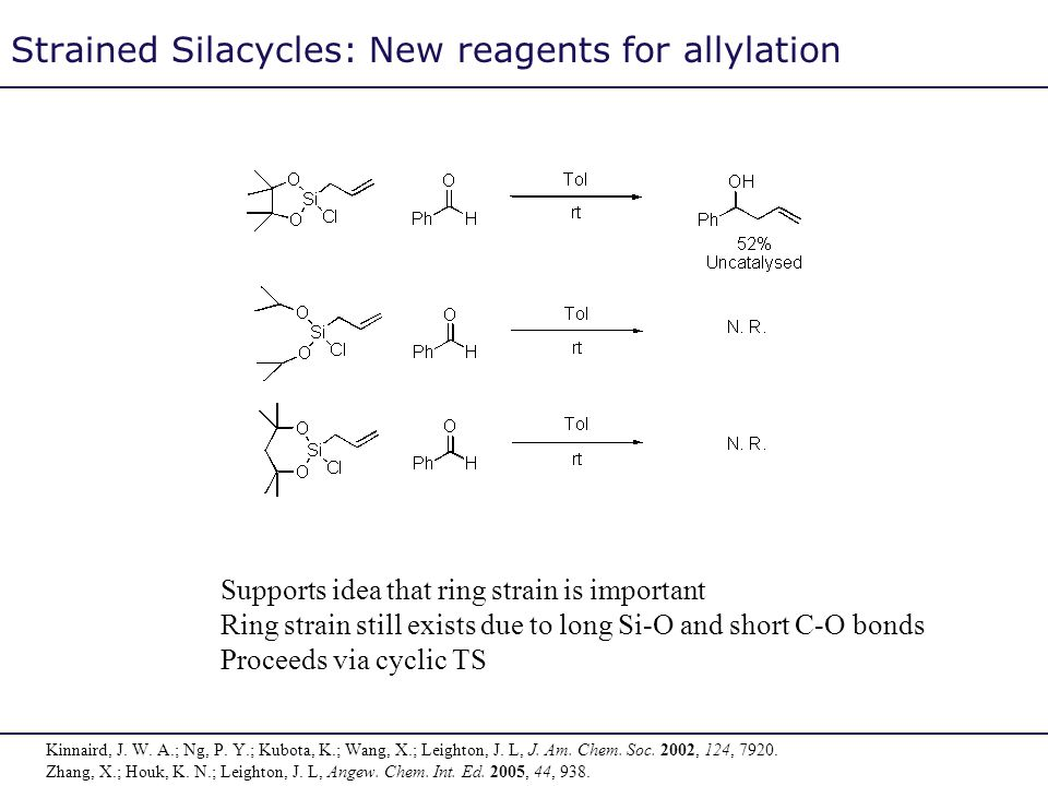 Strained Silacycles: New reagents for allylation