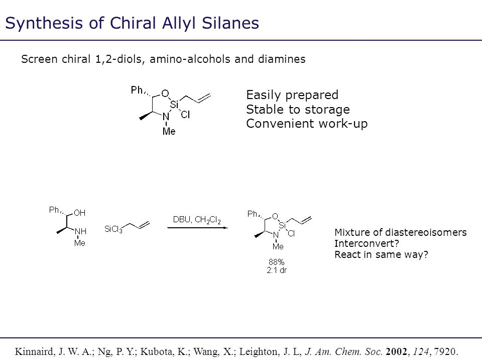 Synthesis of Chiral Allyl Silanes