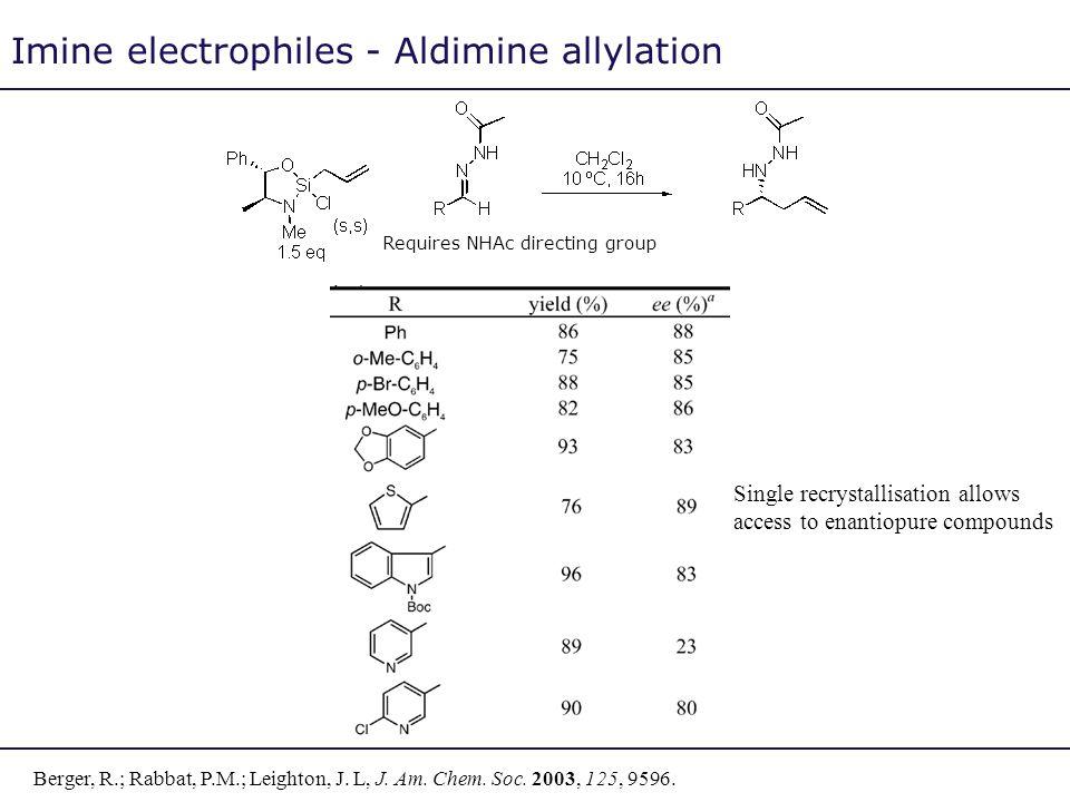 Imine electrophiles - Aldimine allylation