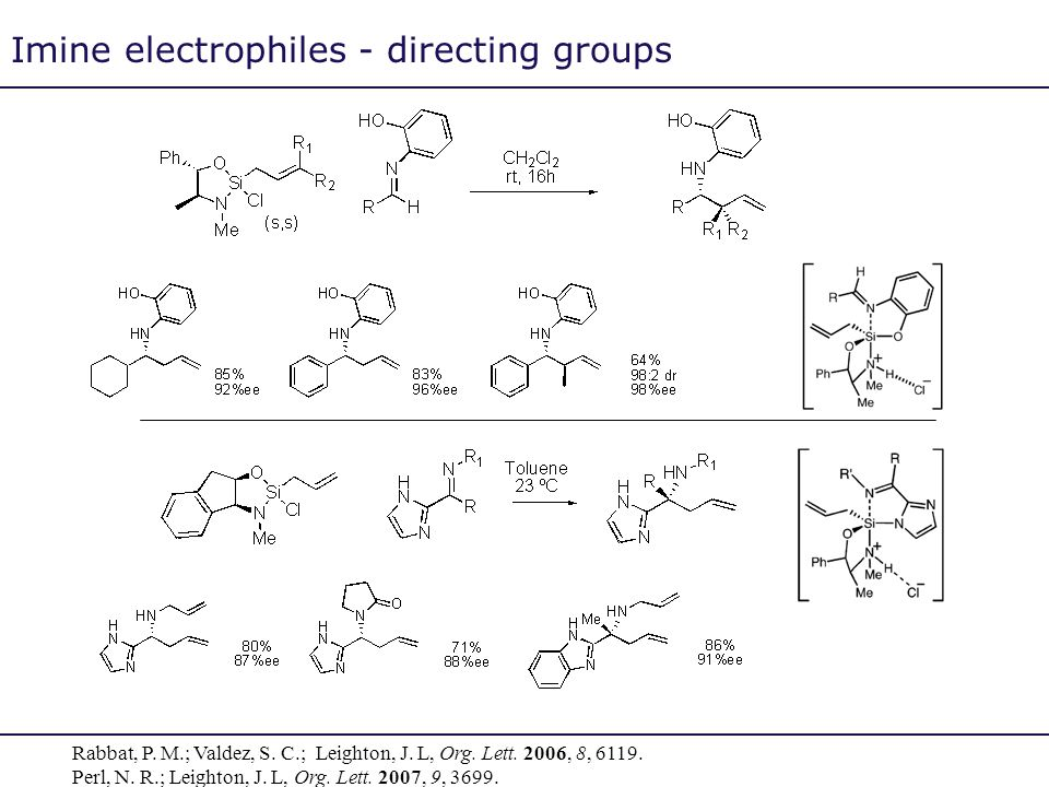 Imine electrophiles - directing groups